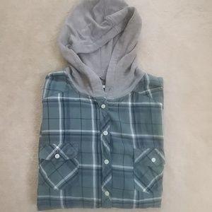 Torrid Plaid Hooded Camp Shirt